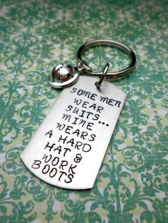 Hard Hat and Boots Keychain Oilfield Wife by HandmadeLoveStories, $30.00