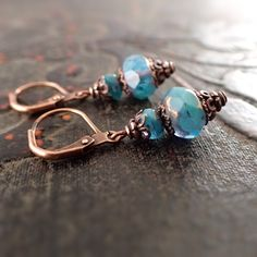 Turquoise Blue Czech Glass Lever Back Earrings by ArdentHearts