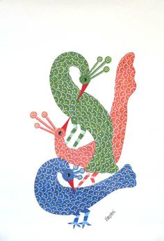 Gond painting - Flirting Peacocks