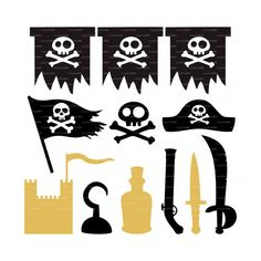 Pirate party banner garland (svg, eps, dxf, ai, jpg, png)  sword gun skull bones digital Clip Art Cut for Silhouette Cameo EasyCutPrintPD