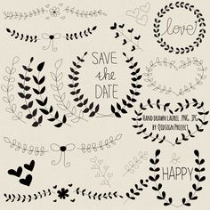 BUY2GET1FREE Hand drawn laurel clipart black for door qidsignproject