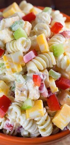 Creamy Cheddar Pasta Salad. I love anything pasta salad.