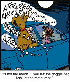 Forgetting the doggie bag. Marmaduke on GoComics.com #Humor #comics #Dogs…