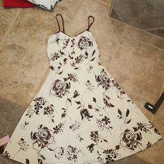 Sundress brown and white natali Dresses Midi