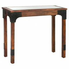 """A standout addition to your entryway or living room, this birch wood console table showcases a glass inset top and studded corner supports.      Product: Console tableConstruction Material: Birch wood, metal and glassColor: Dark brown and blackDimensions: 42.75"""" H x 50.7"""" W x 28.7"""" D"""