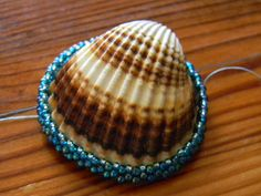 Instructions for making a sea shell bezel. Instructions are not in English but the photos are clear enough to follow. It's a simple circular peyote bezel.