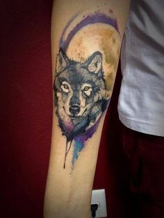 Watercolor wolf tattoo, wolf tattoo, tattoo❤️❤️❤️
