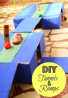 The Practical Mom: DIY Tunnel & Ramps for Toy Cars - This looks so fun! I'm saving this idea for a rainy day - we have so many boxes in the basement. Toddler Boy Toys, Kids Toys For Boys, Diy For Kids, Crafts For Kids, Kids Fun, Car Activities, Art Activities For Toddlers, Preschool Science Activities, Fall Preschool