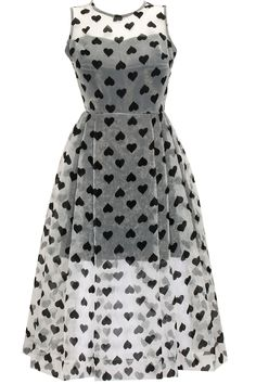 White heart printed organza dress available only at Pernia's Pop-Up Shop.