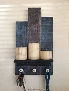 Recycled Pallet Entry Shelf with Three Knobs                                                                                                                                                                                 More