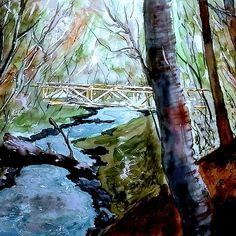 'River stream watercolor' by Marko Ivancevic Watercolor Paintings, River, Shirt, Water Colors, Dress Shirt, Shirts, Watercolour Paintings, Rivers, Watercolor Painting