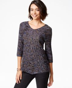 Ny Collection Three-Quarter-Sleeve Marled-Knit Sweater