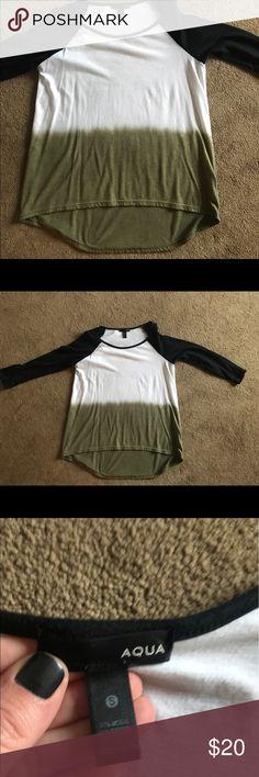 Selling this Aqua tye dye baseball shirt on Poshmark! My username is: bmweitz. #shopmycloset #poshmark #fashion #shopping #style #forsale #Aqua #Tops