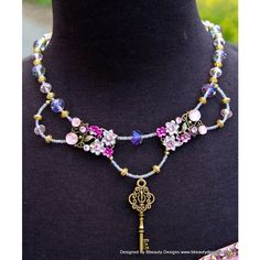 Fantasy Rapunzel Key Floral Necklace in Pink and Purple Tangled... (£51) ❤ liked on Polyvore featuring jewelry, necklaces, round pendant necklace, pendant necklaces, pearl strand necklace, pearl pendant and pink pendant necklace