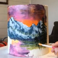 Ross inspired painted cake All done with palette knives, food safe brushes and buttercream! Credit: done with palette knives, food safe brushes and buttercream! Cake Decorating Techniques, Cake Decorating Tutorials, Cupcakes, Cupcake Cakes, Pretty Cakes, Beautiful Cakes, Hand Painted Cakes, Big Cakes, Cake Videos
