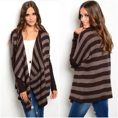 """SALEChocolate delight wool cardigan sz small . Beautiful wool cardigan  Sz small bust up to 40"""" for proper fit ( I am a 34 full C modeling this small )  55% wool/45% viscose  High low hem  NWOT and excellent quality  Ribbed sleeves  Dark and milk chocolate stripeNO BUNDLE DISCOUNTS ON SALE ITEMS Boutique Sweaters Cardigans"""