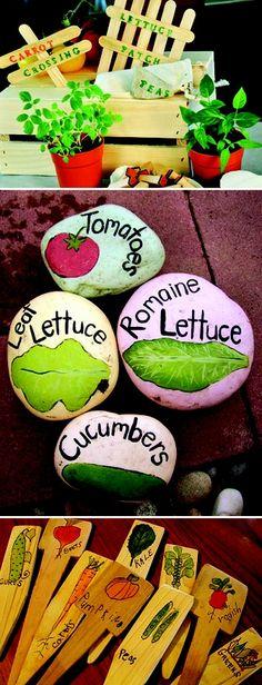Painted Rock Garden markers - Kamra and Maris . idea for your veggie garden! Dream Garden, Garden Art, Veg Garden, Garden Design, Garden Club, Garden Bugs, Potager Garden, Garden Whimsy, Veggie Gardens