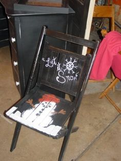 snowman painted chair | Painted snowman on an old wooden chair. | oLd cHaIrS