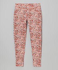 Take a look at this Coral Leopard Skinny Jeans - Girls on zulily today!