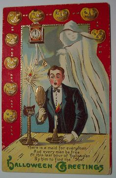 The first male version of this scenario I've ever seen. (Vintage Halloween g… - Halloween Suggestions Retro Halloween, Halloween Clipart, Halloween Pictures, Happy Halloween, Halloween Clothes, Halloween Halloween, Victorian Halloween, Halloween Costumes, Bruges