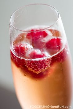 Raspberries and sparkling cider is the perfect combo to start off a romantic Valentine's Day dinner at home.