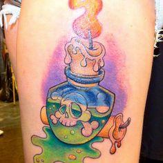 #tattoo #tattoos #colour #colourtattoo #newskool #newskooltattoo #customdrawn #leg #bottle #candle #poison #puddle #drips. Thank you ash, really good fun doing this :) x #Padgram
