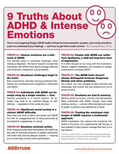 ADHA and Intense Emotions When most people think of ADHD, they think of hyperactive behavior or difficulties paying attention. What often doesn't spring to mind are intense emotional ups and downs. Adhd Odd, Adhd And Autism, Autism Parenting, Parenting Plan, Adhd Brain, Adhd Help, Adhd Diet, Adhd Strategies, Mental Health