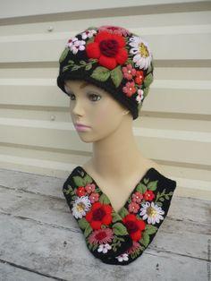 Купить Шапка с варежками, ручная вышивка.ручная работа - комбинированный, цветочный, шапка