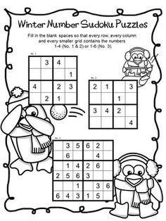 FREEBIE Winter Number Sudoku Puzzles by The Puzzle Tree 2 pages of Winter Sudoku Puzzles