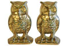 1970s Solid Brass Owl Bookends on OneKingsLane.com