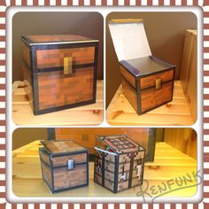 Minecraft paper chest craft. Printed chest template taped over a square box.  Small chest and crafting table paper box craft.