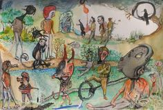 "Bart Johnson, Various Predators, watercolor on paper, 15"" x 22"", 2012"