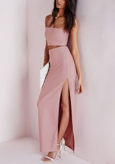 Make a grand entrance to a social event with this blush pink tube top skirt set and make everyone's eyes grow big in awe. #womensfashion