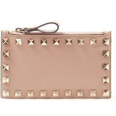 Valentino Beige Rockstud Coin and Card Pouch ($280) ❤ liked on Polyvore featuring bags, wallets, pouch bag, pouch wallet, valentino wallet, beige bag and coin wallet