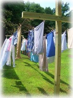 Everyday she hung laundry outside every sunny day.