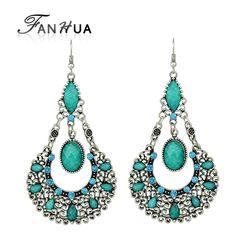 Fanhua brincos retro do vintage brincos de prata antigo cor prata imitação de pedras preciosas brincos jóias indiano para as mulheres