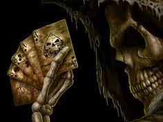スケルトンイメージ, 死の壁紙, ポーカーのベクトル, カードの背景