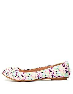 Ruched Floral Print Ballet Flats#charlotterusse #charlottelook