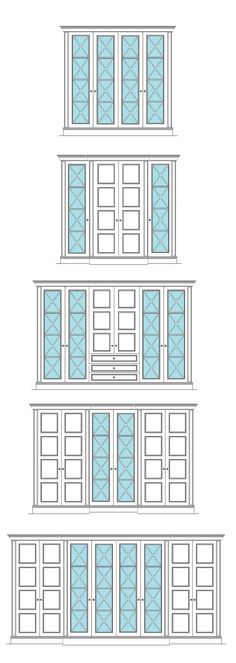 Richmond Style Mirror Wardrobe Door with Ornate Criss Cross Fret Design. Ideas on how to personalise your wardrobe design with breakfronts and various door combinations