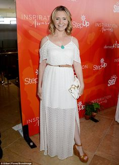 Reunion: Lacey was joined by former 7th Heaven costar Beverley Mitchell, who went for a boho white dress