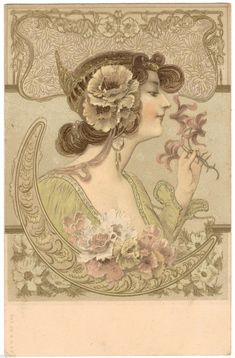 Art Nouveau design, from postcard