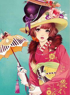 """""""백화점 왈츠 '이미지 사전 이미지 Manga Anime, Art Manga, Art Anime, Anime Kunst, Japan Illustration, Pretty Art, Cute Art, Art Mignon, Samurai"""