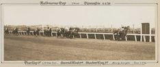 A black and white photo of Phar Lap winning the Melbourne Cup, 1930.