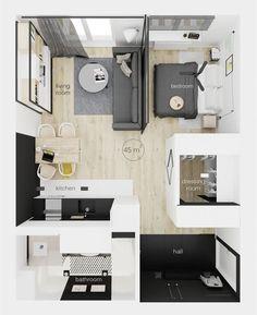 very tiny studio apartment ideas Modern Studio Apartment Ideas, Studio Apartment Floor Plans, Studio Apartment Layout, Small Apartment Design, Studio Apartment Decorating, Small Room Design, Apartment Interior, Small Apartments, Apartment Living