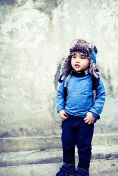 little Aidan in blue