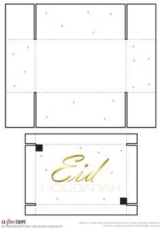 free printable gift box for Eid - Eid mubarak free printable Eid Crafts, Ramadan Crafts, Diy And Crafts, Carte Eid Mubarak, Eid Moubarak, Eid Boxes, Diy Gift Box Template, Eid Stickers, Eid Party