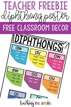 Looking for some freebies for teachers? This FREE classroom decor poster is what you need! You'll get a diphthongs poster so that your elementary students will have a visual reminder in the classroom when working on diphthongs. Teacher Freebies, Classroom Freebies, Classroom Decor, Free Teaching Resources, Teaching Tips, Teacher Resources, Teacher Organization, Teacher Hacks, Organization Ideas
