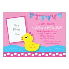 Pink Rubber Duck Birthday Invitations