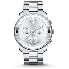 Movado Bold Stainless Steel Chronograph Bracelet Watch ($945) ❤ liked on Polyvore featuring men's fashion, men's jewelry, men's watches, apparel & accessories and silver