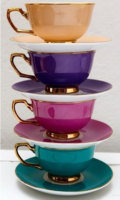 I don't even like tea, but these are amazing! Inspiration for new dining room. Christina Re ~ Tea cups for a High Tea Teapots And Cups, My Cup Of Tea, Jewel Tones, Jewel Tone Colors, Bright Colors, Tee Design, High Tea, Afternoon Tea, Tea Cup Saucer